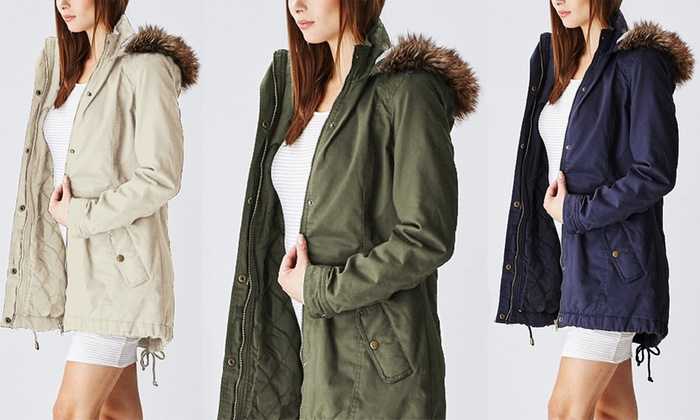 e2b35036710 Glamsia Women's Cotton Parka Jacket - LCP015-olive - Size: Large