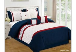 Modern 7 Piece Bedding Navy Blue / Red / White Embroidered King Comforter Set with accent pillows