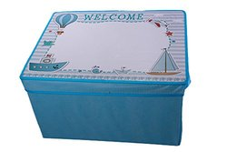 Kid's Blue Collapsible Storage Bin and Play Mat with White Board Lid