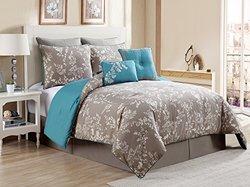 7 Piece Comforter Set - Gray / Aqua - Size: Queen