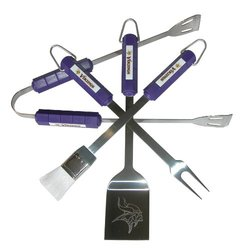 NFL Minnesota Vikings 4-Piece Stainless Steel Barbecue Set