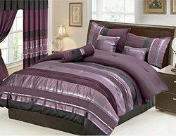 "7 Piece Oversize Eggplant Purple / Black silver stripe Chenille Comforter set 106"" X 94"" California King Size Bedding"