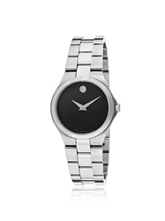 Movado Women's Black Dial Stainless Steel Band Watch (0606558)