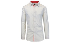 Galaxy By Harvic Men's Slim Fit Long Sleeve Shirt - White/Tan - Size: XL