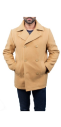 Braveman Men's Wool Blend Coats - Camel - Size: 2XL