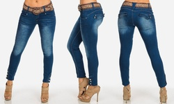 Women's Low-rise Ankle Jeans With Belt - Navy Faded - Size: 5