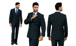Vitto Classic Men's 2-Piece Suit - Dark Gray - 46LX40W
