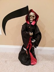 Spooky Animated Grim Reaper Halloween Figurine - Lights Up - Size: 28""