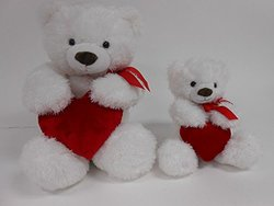 """Valentines Smitten 22"""" Tummy Bear Plush Toy with Red Heart (1165L, Red Heart)"""