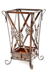 Brelso Super Quality Umbrella Stand, Umbrella Holder, Antique Look Metal, Entry Hallway Décor, Square Style, w/Removable Drip Tray. (Gold-Brown)