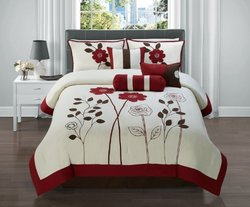 7 Pc Red, Brown and Tan Floral Comforter Set / Bed in a Bag/ Queen Size Bedding By Plush C Collection