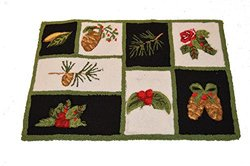 Holiday Decor Holiday Hand Hooked Accent Rug - Holly and Pine Leaves Squares