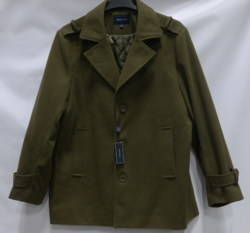 Braveman Men's Single Breasted Wool Blend Coats - Olive - Size: Medium
