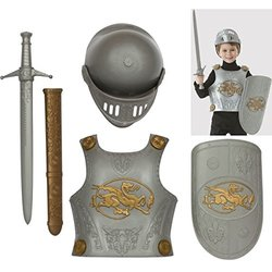 Amscan Gracious Gods & Goddess Crusader Play Set (4 Piece), One Size, Silver