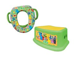 Sesame Street Potty and Step Stool Combo Set - Framed Friends - Green