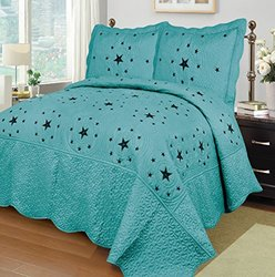 3-piece Western Lone Embroidery Star Cabin / Lodge Quilt Bedspread Coverlet Set (Queen, Turquoise)