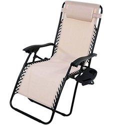 Sunnydaze Oversized Zero Gravity Lounge Chair - Beige