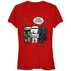 Star Wars Christmas Juniors T Shirt  - Boba It's Cold Outside - Size: M