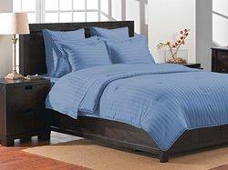 Damask Luxe Collection Stripe Comforter Set Queen, 400 Thread Count 100% Cotton Blue Comforter Set