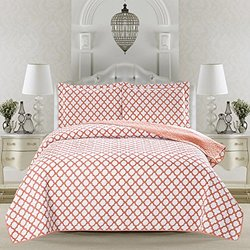 HFD Madison Collection 3-Piece Printed Bed Quilt Set - Coral - Size: Twin