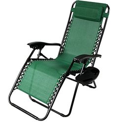 Sunnydaze Zero Gravity Lounge Chair with Pillow & Cup Holder - Green