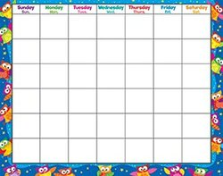 Owl Stars Monthly Wipe Off Calendar