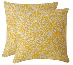 Yellow Throw Pillow Cover (Set of 2) for Sofa Couch 16 X 16 Inches Damask Design 100% Cotton Fabric Soft Accent Decorative Cushion Cases Collection by Value Homezz (Yellow & White)