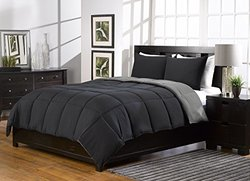 2 Piece, Super Soft, Alternative Down Comforter Set, Twin/twinxl, Black/grey/burgundy, By Karlai Bedding Collection (Twin XL, Black/Grey)