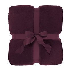 """Large 90""""x90"""" Queen Size Bed Fleece Throw Blanket Soft Fuzzy Plush Sofa Couch Burgundy"""
