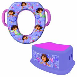 Nickelodeon Dora the Explorer Potty Seat and Step Stool Combo Set, Portable, Easy Cleaning, Purple