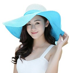 Kaisifei Bowknot Casual Straw Women Summer Hats Big Wide Brim Beach Hat (Blue)