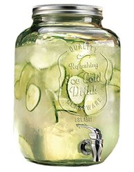 Durable Glass Beverage Dispenser with Spigot 2.15 Gallons, Home Bar and Party Centerpiece, w/Fruit Infuser Ball
