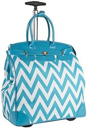 Ever Moda Teal Blue Chevron Rolling Wheeled Overnight Bag