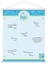 "Amscan Charming Welcome Little One Boy Sign in Sheet Baby Shower Party Supplies, 24 x 19"", Blue/White/Green"