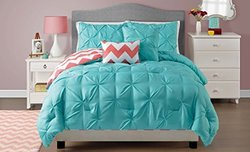 4 pc, Pink and Aqua, Pintucked, Chevron Comforter Set, Twin Size Bedding, by Karalai Bedding Collection