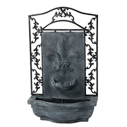 Sunnydaze French Lily Outdoor Wall Fountain Lead Finish