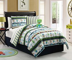 7 Pc, Reversible, Robot, Bed I a Bag, Twin Size Bedding, By Karalai Bedding Collection (twin)