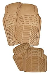 Zento Deals 4 Piece Beige Universal Fit Odorless Premium Quality Full Rubber-All Weather Heavy Duty Vehicle Floor Mats