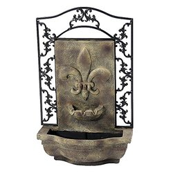 French Lily Outdoor Wall Fountain Florentine Stone