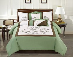 Modern 7 Piece OLIVIA Bedding Sage Green / White Emboidered QUEEN Comforter Set with accent pillows