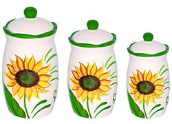 Set of 3 Sunflower Design Hand Painted Ceramic Canister Jars with Tight Lids for Kitchen or Bathroom.quality Airtight Jar with Lids, with Wide Mouth, Looks Great on Your Kitchen Counters