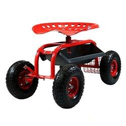 Sunnydaze Red Rolling Garden Cart with Steering Handle, Swivel Seat & Basket
