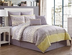 8 Pc Grey, and Yellow, Comforter Set, Queen Size Bedding By Karalai Bedding Collection (queen)