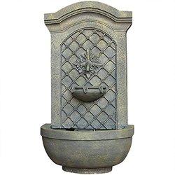 Sunnydaze Rosette Leaf Outdoor Wall Fountain French Limestone Finish