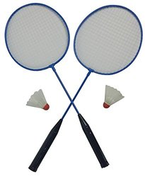Outdoor Badminton Set Rackets and Birdies (Blue)