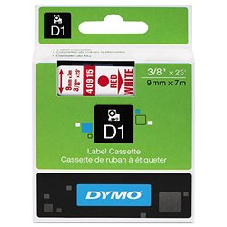 "Dymo Standard D1 Labels (Red Print, White Tape - 3/8"" x 23')"