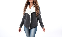 Women's Draped Kelsey Cardigan with Sherpa Lining - Charcoal - Size: XL