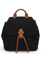Women's Faux Suede Fashion Backpack - Black