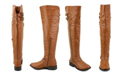 Olivia Miller Women's Over The Knee Buckle Boots - Cognac - Size: 11