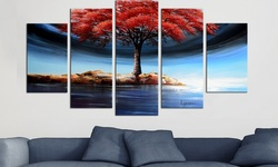 Gallery-wrapped Artwork: Brown Grey Abstract Art/68x32-5 Panels